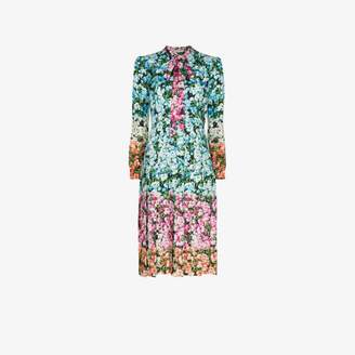 Mary Katrantzou Airmail Pussybow Printed Midi Dress