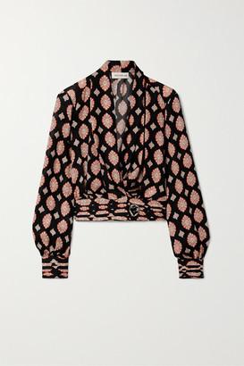 Nicholas Shaila Printed Silk Crepe De Chine Wrap Top - Black
