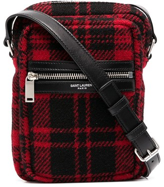 Saint Laurent Check-Print Crossbody Bag