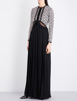 Self-Portrait Cutout guipure lace and crepe maxi dress