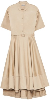 Co Short Sleeve Flared Dress in Taupe