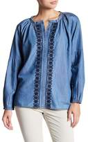 Jag Jeans Casper Embroidered Chambray Blouse