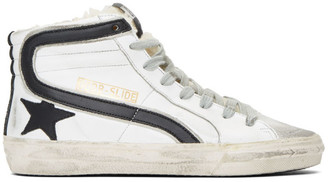 Golden Goose White Shearling Slide High-Top Sneakers