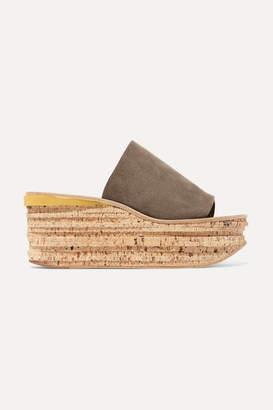 Chloé Camille Suede Wedge Sandals - Dark gray