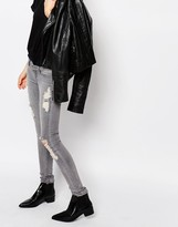Cheap Monday Slim Low Rise Jeans With Distressing