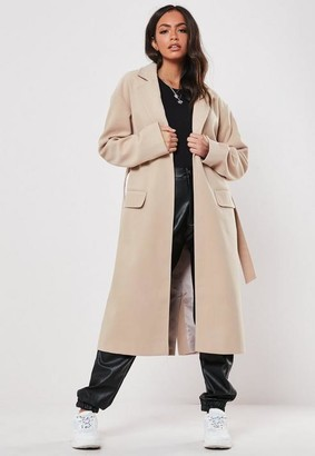 Missguided Nude Belted Formal Maxi Coat