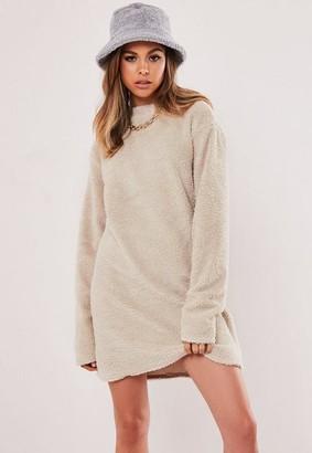 Missguided Stone Borg Teddy Crew Neck Sweater Dress
