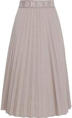 DKNY Monogram-trimmed Pleated Poplin Midi Skirt