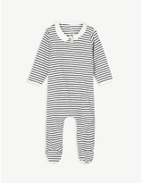 Petit Bateau Striped shirt collar cotton sleepsuit newborn-18 months