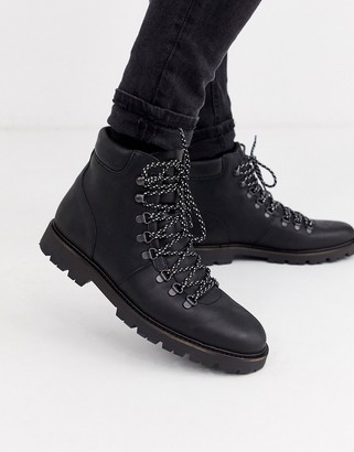 Selected chunky sole hiker boots in black