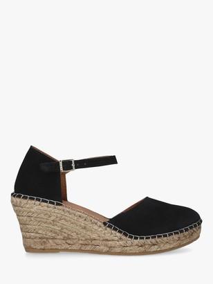 Carvela Comfort Simple Wedge Heel Suede Espadrilles, Black