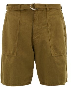YMC Zipped-cuffs Cotton-blend Canvas Shorts - Mens - Olive Green
