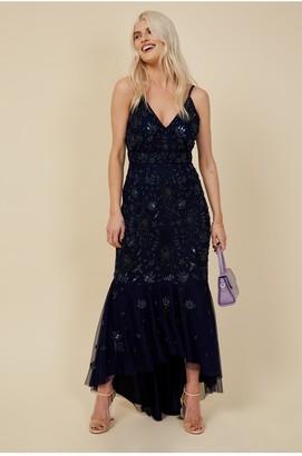 Little Mistress Bridesmaid Lorna Navy Floral Embellished Midaxi Dress