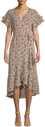 Max Studio Floral Short-Sleeve Wrap Dress