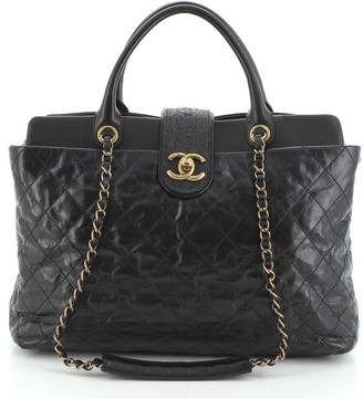 Chanel Bindi Tote Quilted Glazed Calfskin with Stingray Large