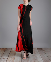 Aster Black & Red Abstract Maxi Dress - Plus Too