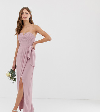 TFNC bridesmaid exclusive bandeau wrap midaxi dress with pleated detail in pink