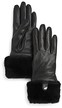 UGG Shearling-Cuff Leather Tech Gloves