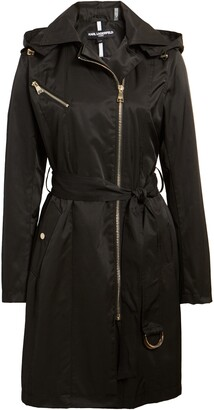 Karl Lagerfeld Paris Asymmetrical Front Zip Trench Coat