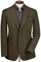 Charles Tyrwhitt Slim Fit Olive Checkered Luxury Border Tweed Wool Jacket Size 46