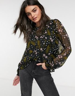 Vero Moda chiffon blouse with volume sleeve in dark floral