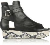 kate bosworth  Who made  Kate Bosworths snake print shoes, black handbag, dress, and aviator sunglasses?