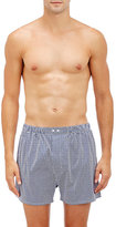 Barneys New York Men's Micro-Checked Boxers-WHITE
