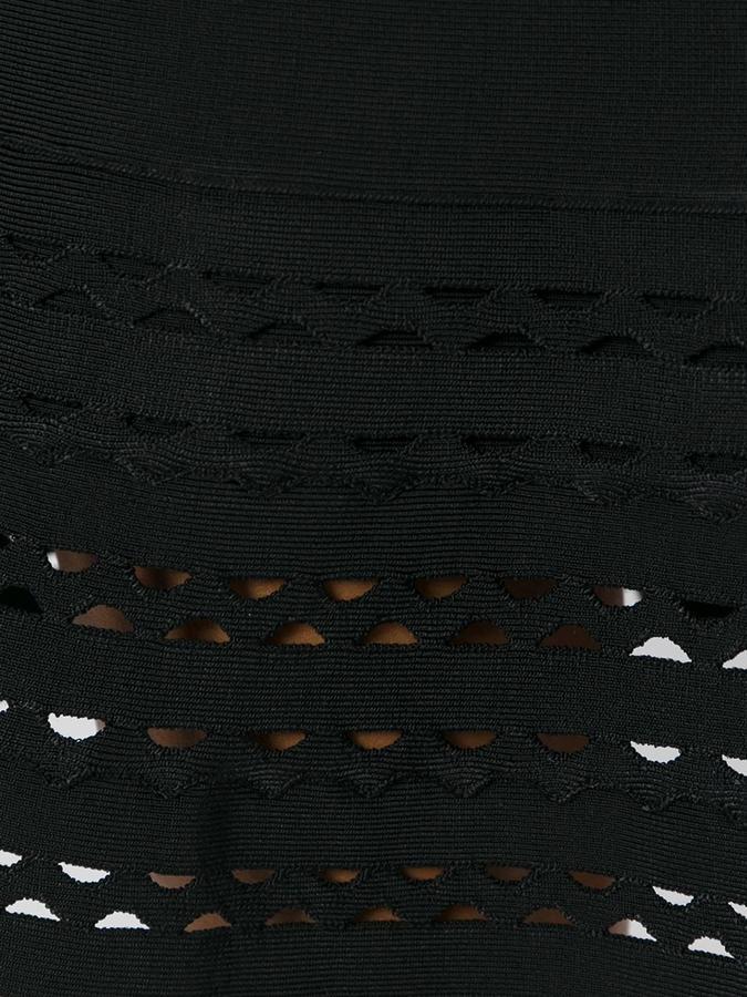 Herve Leger V-neck flared dress