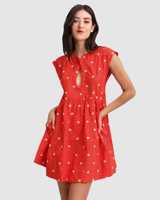 Belle & Bloom Women's Red Mini Dresses - Baby Doll Embroidered Dress - Size One Size, XS/S at The Iconic