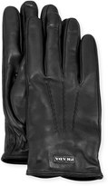 Prada Napa Leather Gloves w/ Logo, Black (Nero)