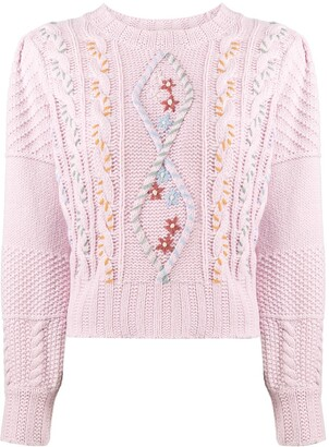 LoveShackFancy Embroidered Cable Knit Jumper