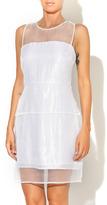 Aryn K Silver Sheer Dress