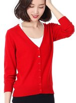 Panreddy Women's Wool Cashmere Classic Cardigan V-Neck L