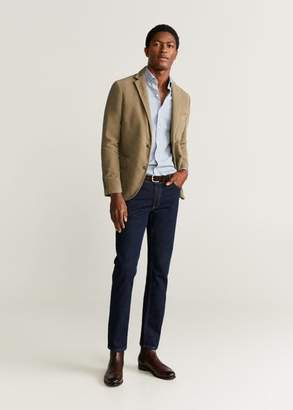 Slim fit backstitching cotton blazer