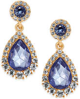 Charter Club Gold-Tone Crystal & Blue Stone Drop Earrings, Only at Macy's