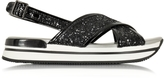 Hogan Black Fabric and Leather Glitter Sandal