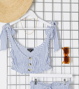 Wednesday's Girl crop top with tie sleeves in stripe two-piece