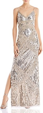 Aidan Mattox V-Neck Beaded Gown