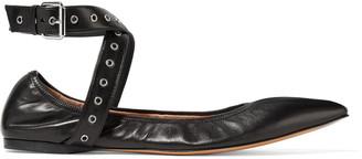 Valentino Love Latch Eyelet-embellished Leather Point-toe Flats