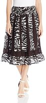 NY Collection Women's Printed Knee Length Paneled Skirt with Smocked Waistband