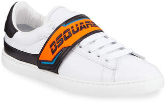 DSQUARED2 Men's Neon Grip-Strap Leather Sneakers