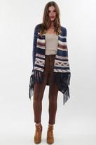 Goddis Paxton Fringe Sweater In Silver Sand