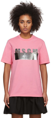 MSGM Pink Degrade Logo T-Shirt