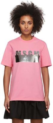 MSGM Pink Degrade Logo T-Shirt