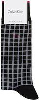 Calvin Klein Retro Grid Pattern Cotton-blend Medium Length Socks