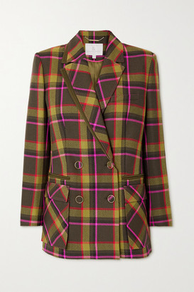 RALPH & RUSSO Double-breasted Checked Wool-drill Blazer - Dark green