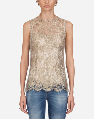 Dolce & Gabbana Chantilly Lame Lace Top