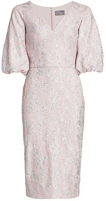 Theia Cloque Ballon-Sleeve Dress