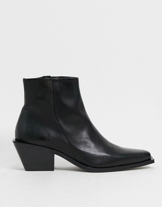 ASOS DESIGN stacked heel western chelsea boot in black leather with angular sole