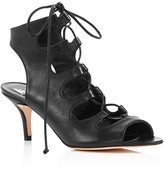 Delman Tanna Leather Caged Lace Up Mid Heel Sandals